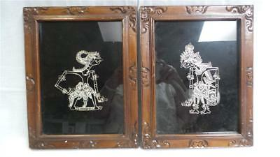 Blackwood Framed Handcrafted Metal Thread Embroidery Prints X 2 Under Glass