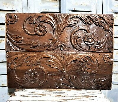 18 th PAIR SCROLL LEAVES PANEL Antique french hand carved wood salvaged carving