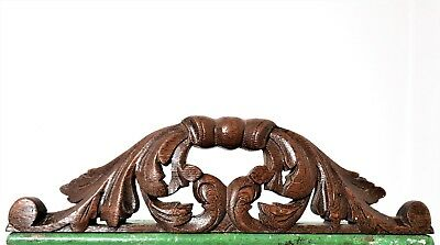 GOTHIC SCROLL LEAVES PEDIMENT Antique french hand carved wood crest cornice b