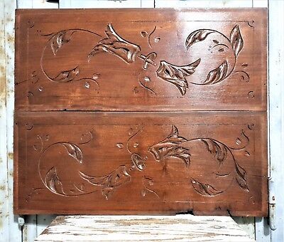 Pair gothic scroll leaves pediment Antique frenchhand carved wood panel trim