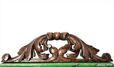 GOTHIC SCROLL LEAVES PEDIMENT Antique french hand carved wood crest cornice d