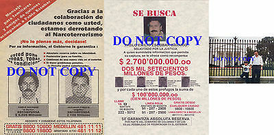 Pablo Escobar Colombian Narcos Drug Medellin Cartel Reprints (2) Wanted Posters