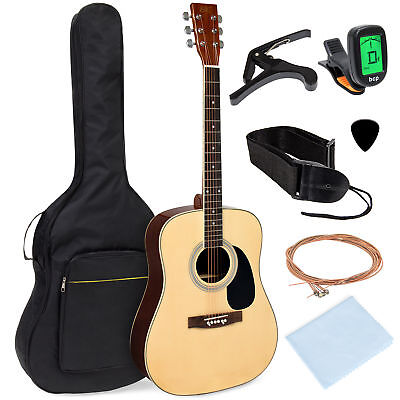 BCP 41in Acoustic Guitar Starter Kit w/ Digital Tuner, Padded Case, Picks, Strap