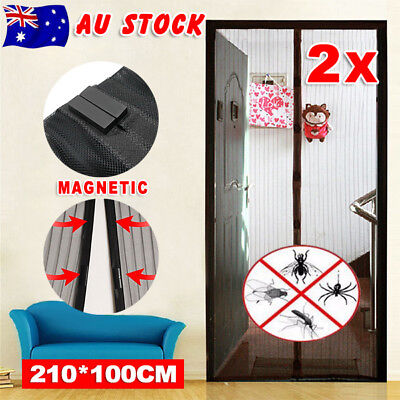2X Magnetic Door Mesh Fly Screen Magic Magna Bug Mosquito Curtain Sets