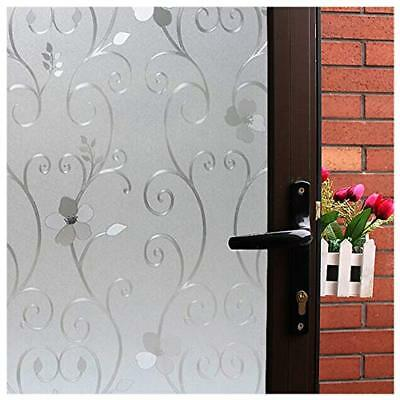 3D Flower Privacy Window Film Frosted,Translucent Decorative Glass Door Film,Non