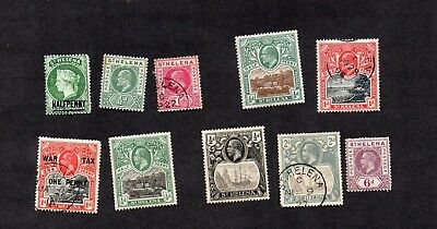 ST.HELENA.QV-GEORGE V. 10 x DIFF'T EARLY STAMPS TO 6d.G.U/M.H MIX.