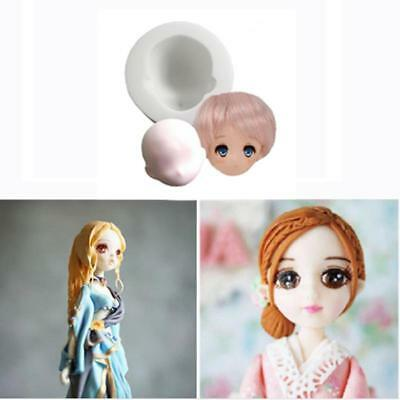 Silicone 3D Baby Face Doll Head Mold Cake Fondant Chocolate Mould Tools LC