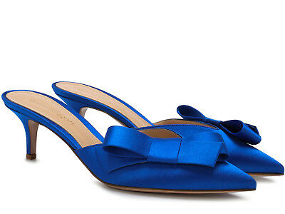 4eeb91d99413 Gianvito Rossi Kyoto low heels luxury mules in bright blue Satin made in  Italy