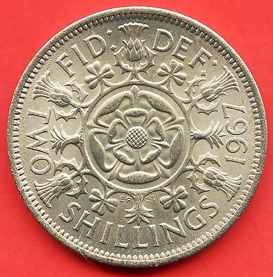 1967 Great Britain 1 Florin ( 2 Shilling ) Coin