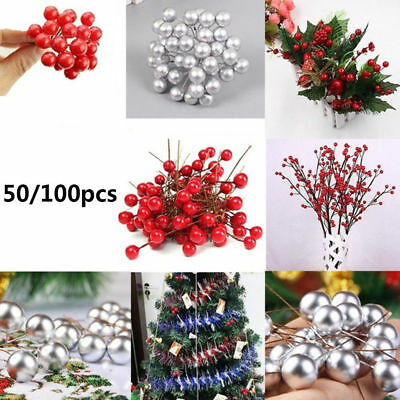 50/100pcs Simulation Cherry Christmas Tree Decor Fruit Ball Wreath Ornament