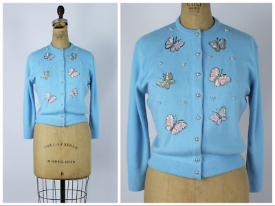 Vintage 1950s/60s Beaded Sequin Butterfly Orlon Cardigan Sweater 1960s/50s