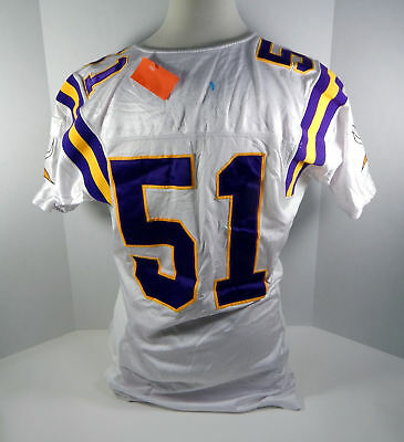 5b0fdf760 2000 Minnesota Vikings Mitch Palmer  51 Game Issued White Jersey