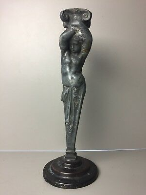 Antique Vintage Lead Roman Grecian Figure Candlestick Holder