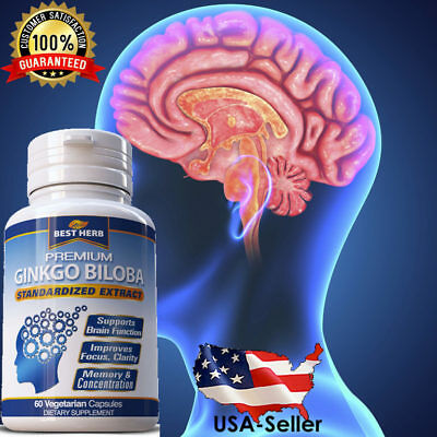 Brain Supplement Memory Booster ADHD Ginkgo Biloba Gingko Mental Focus Capsules