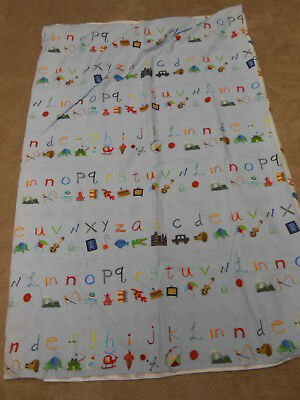 Pottery Barn Kids Alphabet/animals Light Blue Crib  Duvet Cover  34 X 50""