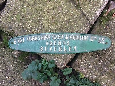 Vintage Cast Iron East Yorkshire Cart & Wagon Co Ld,Beverley Makers Plaque,Badge