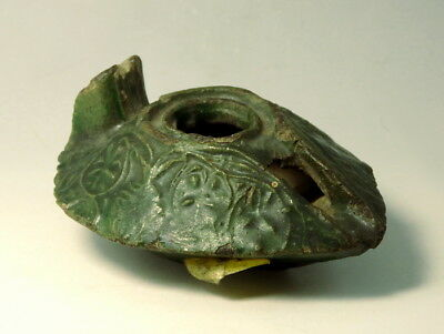 Interesting Byzantine Green Glazed Terracotta Oil Lamp (M136)