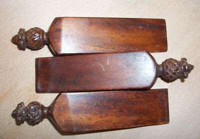 three fine antique treen - wooden window wedges with decorative finials