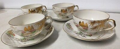 Japanese set of 4 Geisha cups and saucers (Hol]