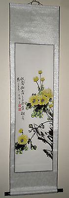 """Scroll Painting 57"""" Paper pasted on Silk.  US seller"""