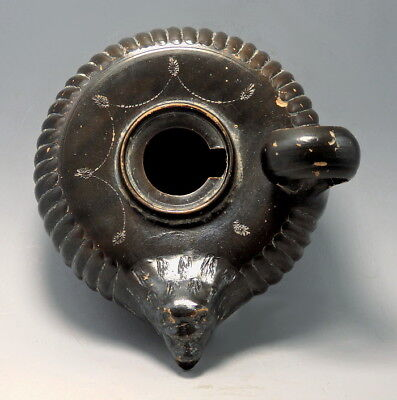 Greek Campanian Terracotta Black-Glazed Guttus With Lion Headed Spout  (M138)
