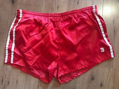 Mens Red Satin Boxing Swimming Shorts 70s 80s TRUE VINTAGE ! PLUS SIZE FRIENDLY