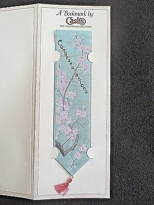 Cash's Silk BOOKMARK Stevengraph Congratulations Cherry Blossom Unused on Card