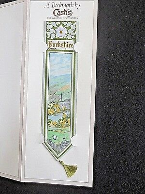 Cash's Silk BOOKMARK Stevengraph YORKSHIRE White Rose Mill Sheep Scene Unused