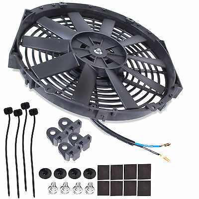 "14"" Universal Electric Cooling Turbo Kit Car Straight Blade 12V 80W Radiator Fan"