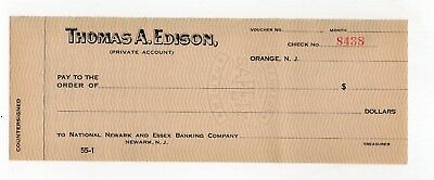 Vintage Personal Check of Thomas A. Edison