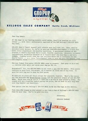 1960s? Kellogg Gro-Pup Colorful Letterhead + 2 Coupons