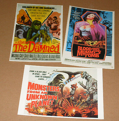Hammer Films Poster Postcards x 3 - The Damned Blood From The Mummys Tomb +