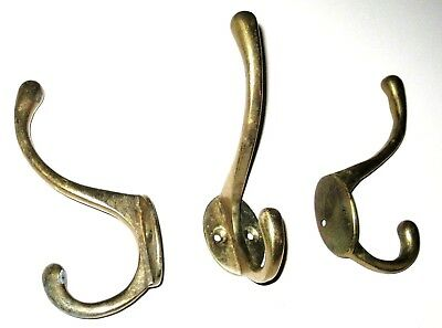 "Lot of 3 Vintage Heavy Solid Cast Brass Double Coat Hat Wall Hooks 4.5"" Tall"