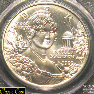 1999-P Silver Dolley Madison Commemorative Silver Dollar 50c Pcgs MS69