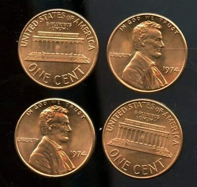 Wonderful 1974 United States Lincoln Memorial Cent Roll (50 Coins) AN591