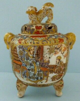 Antique Chinese Satsuma Pottery Incense Burner Pot Foo Dog Lion Gilt Elephant