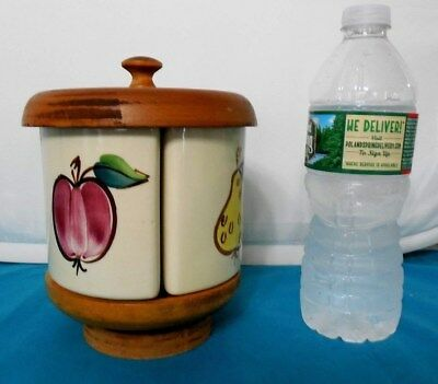 Salesman Sample Mini  Purinton  Lazy Round Susan 3 1/2 In. Canisters Wooden Lid