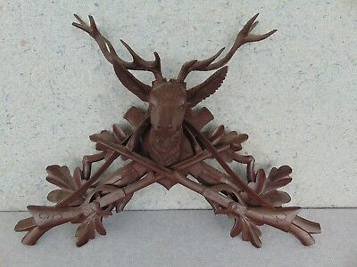 Old Antique Large Cuckoo Hunters Hunter Deer Stag Finial Top Trim Clock Parts