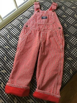 Oshkosh Red/White Striped Overalls W/ Red Lining 2T
