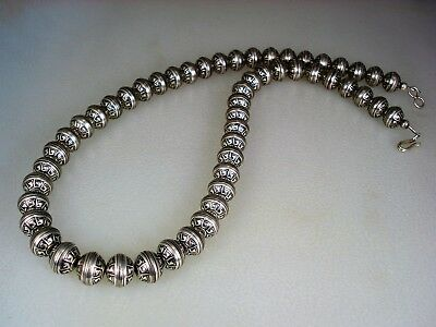Fab Vintage Navajo Pearls Stamped Sterling Silver Bead Necklace