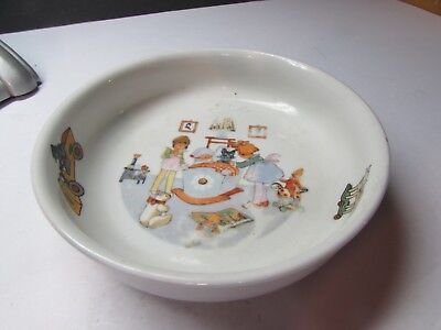 Vintage Czech Pottery Early 1900S Childs Baby Dish Great Graphics