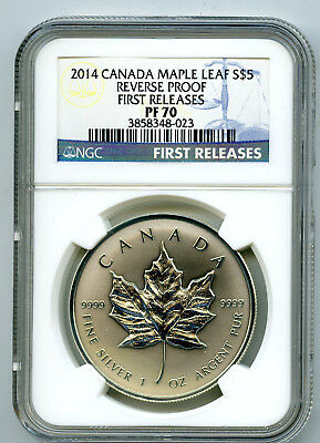 2014 $5 Canada 1Oz Silver Ngc Pf70 Reverse Proof Maple Leaf First Releases -Haze