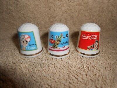 Coca-Cola--Lot of 3--Old Coke Sewing Glass Thimbles Coke Advertisement