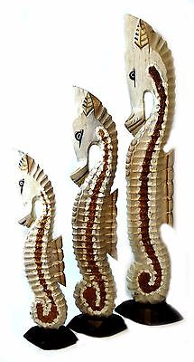 "Lg 39"" Handmade Set Wood Seahorse Carving Nautical Sea Art Decor Ocean Tropical"
