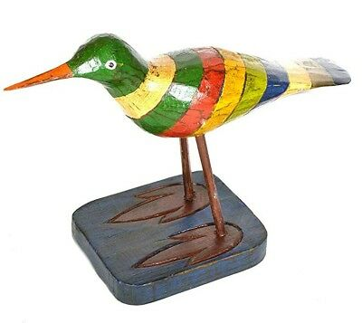 Lg Sandpiper Ocean Sea Bird Wood Sculpture Cottage Tropical Island Shorebird