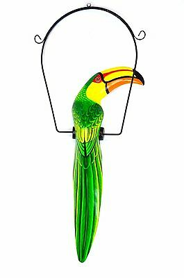 Lg Green Toucan Hanging Island African Jungle Wood Tropical Hand Carved Painted