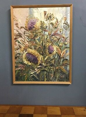 Large Mid Century Modernist Oil In Board Painting Of Flowers In Frame Signed