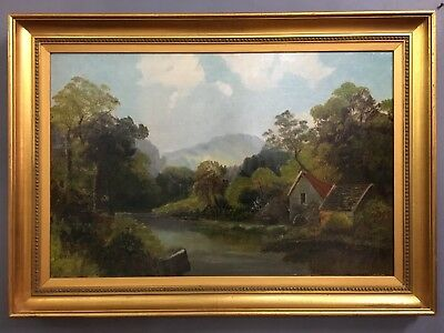 Very Large Antique Oil On Canvas Painting In Gold Gilt Frame