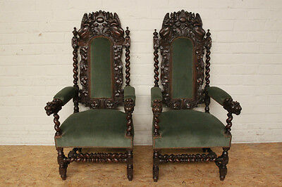 Pair of Large Antique Carved French Renaissance Hunt Arm Chairs