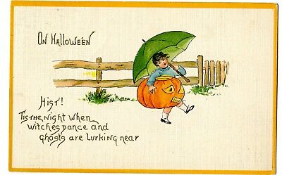 "1914? Halloween PostCard Embossed ""linen"" Texture Little Girl Umbrella JOL #7018"